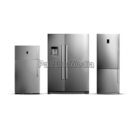 set of realistic silver fridges of