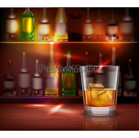 bar counter realistic background with glass