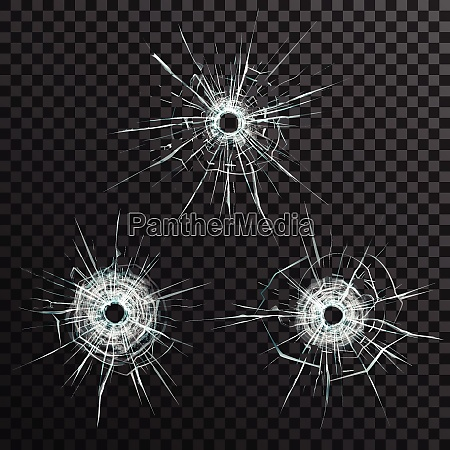bullet holes template in glass on