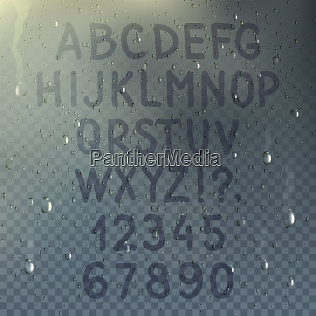 hand drawn transparent alphabet on misted