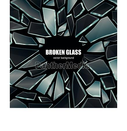 broken glass dark shiny realistic fragments