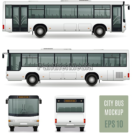modern city bus realistic advertising template