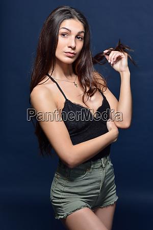 beautiful woman in a black top