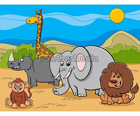 safari zwierzeta postaci z kreskowek grupy