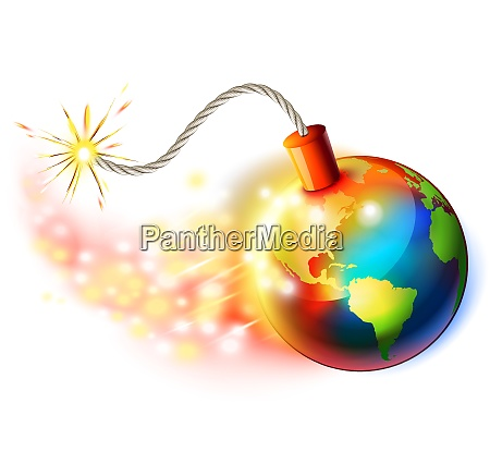 global warming concept planet on fire