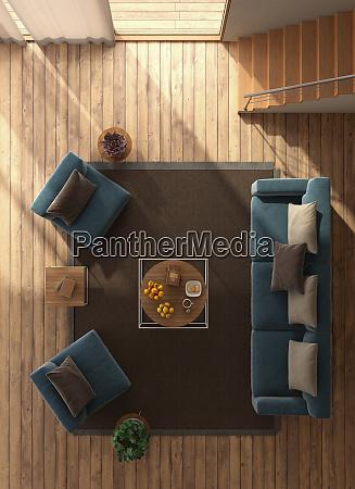 widok z gory na nowoczesny salon