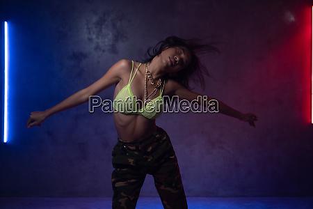 young beautiful fashion asian girl dancer