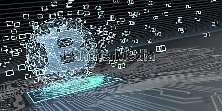 bitcoin blockchain technology 3d illustration
