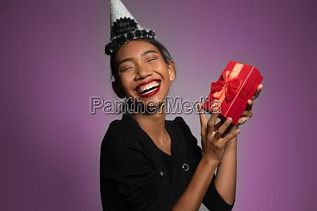 pretty happy asian girl in birthday