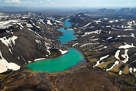 aerial view of the icelandic lake
