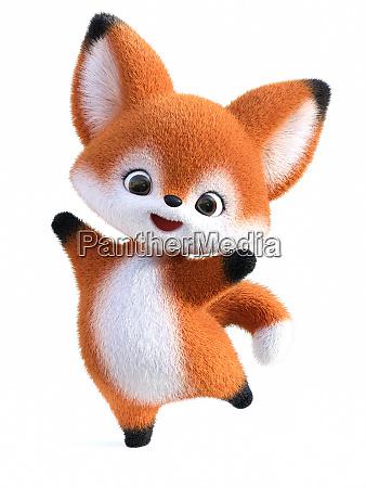 renderowanie 3d kawaii kreskowka fox skoki