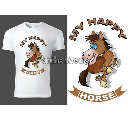 bialy t shirt dzieciecy z koniem