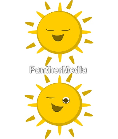 two suns vector color illustration