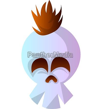 cartoon white skull with brow hair