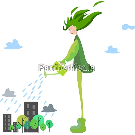 tall spring girl vector or color