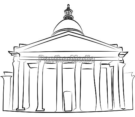 white house sketch illustration vector on