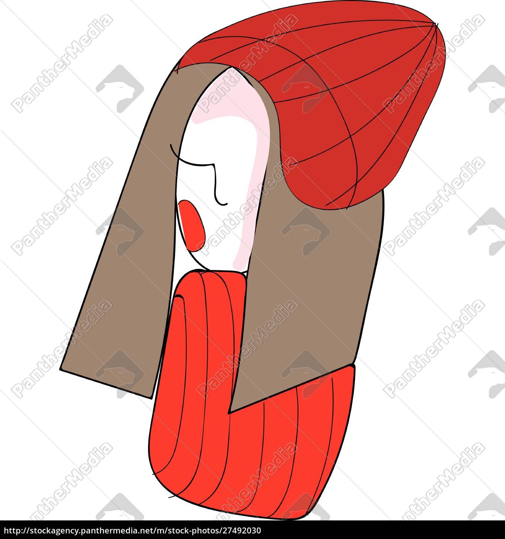 abstrakcja, piórem, dziewczyna, z, czerwonym, kapeluszem - 27492030