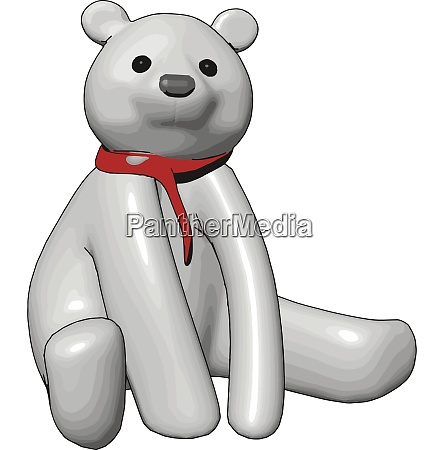 white teddy bear with red scarf