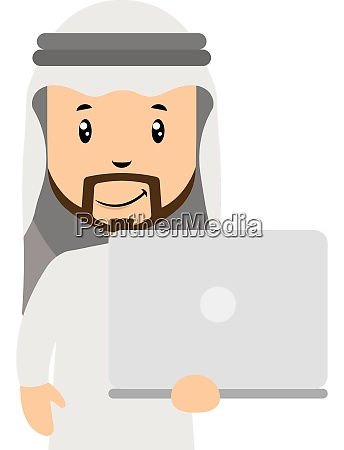 arab with white laptop illustration vector