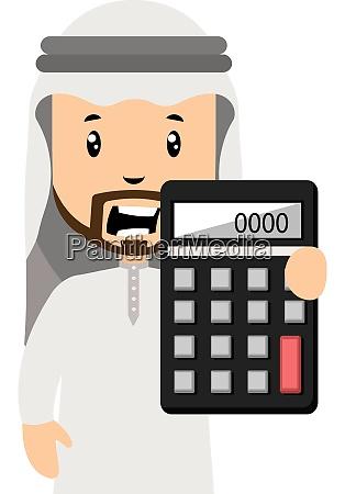 arab holding calculator illustration vector on