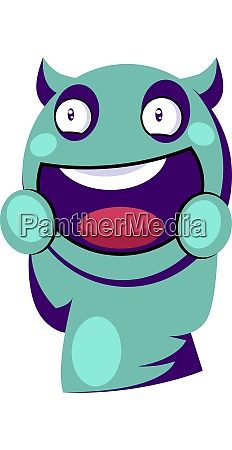 excited light blue monster with horns