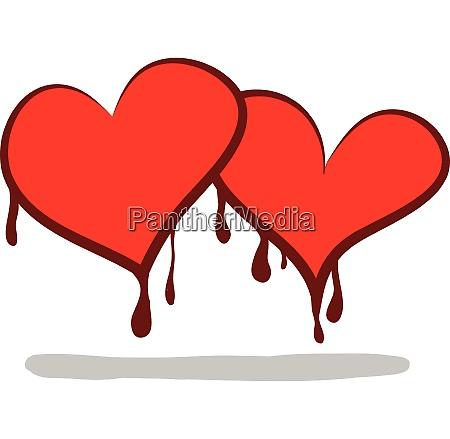 two cartoon hearts shedding bloodvalentines symbol