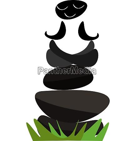 portrait of meditating black stones above