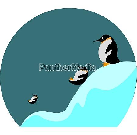 rysunek obraz trzech pingwinow przesuwnych i