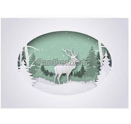 wintry paper art xmas greeting with