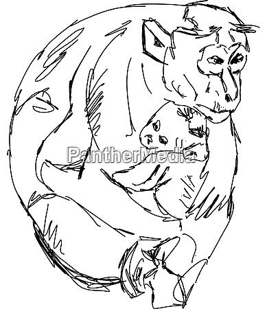 monkeys drawing illustration vector on white
