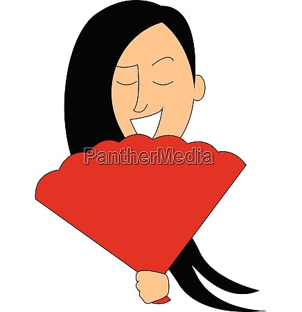 girl with a fan vector or
