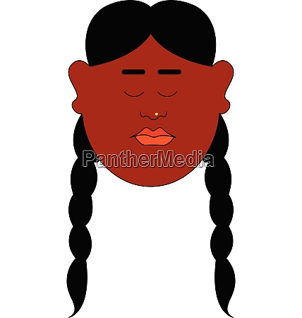 a girl in long hair with