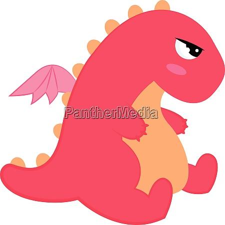 pink dinosaur vector or color illustration