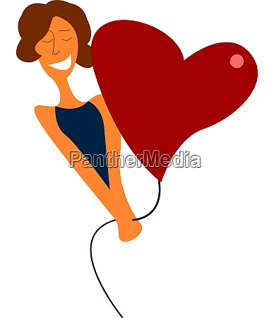 a girl and a heart balloon