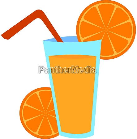 glass of orange juice illustration vector