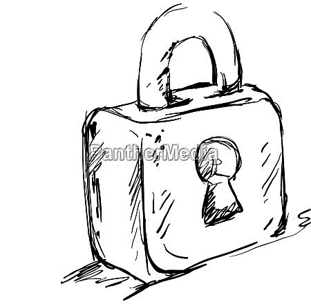 drawing of lockpad illustration vector on