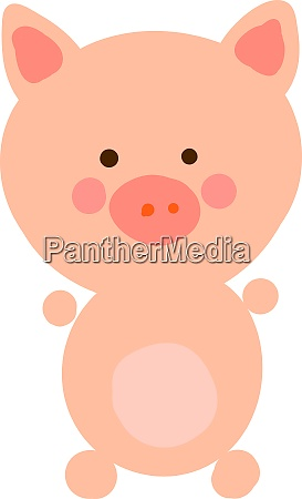 happy little pig illustration vector on