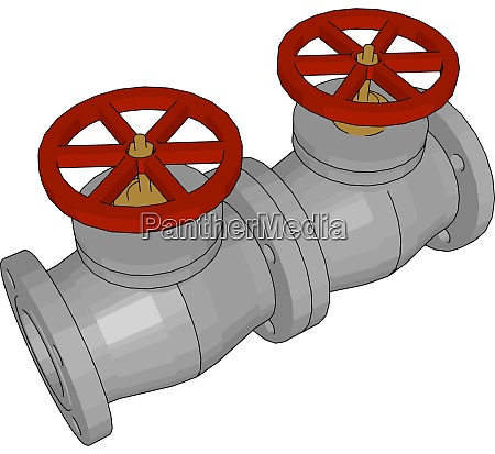 double red ball valve illustration vector