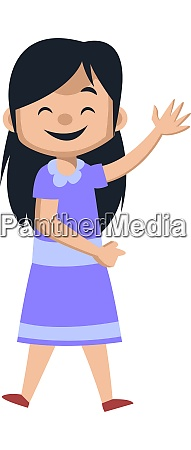 happy girl waving illustration vector on