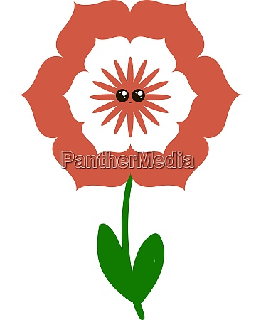 cute red flower illustration vector on