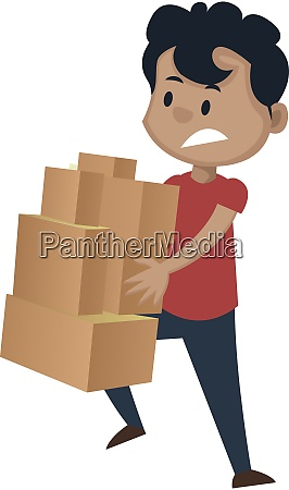 boy is holding boxes illustration vector