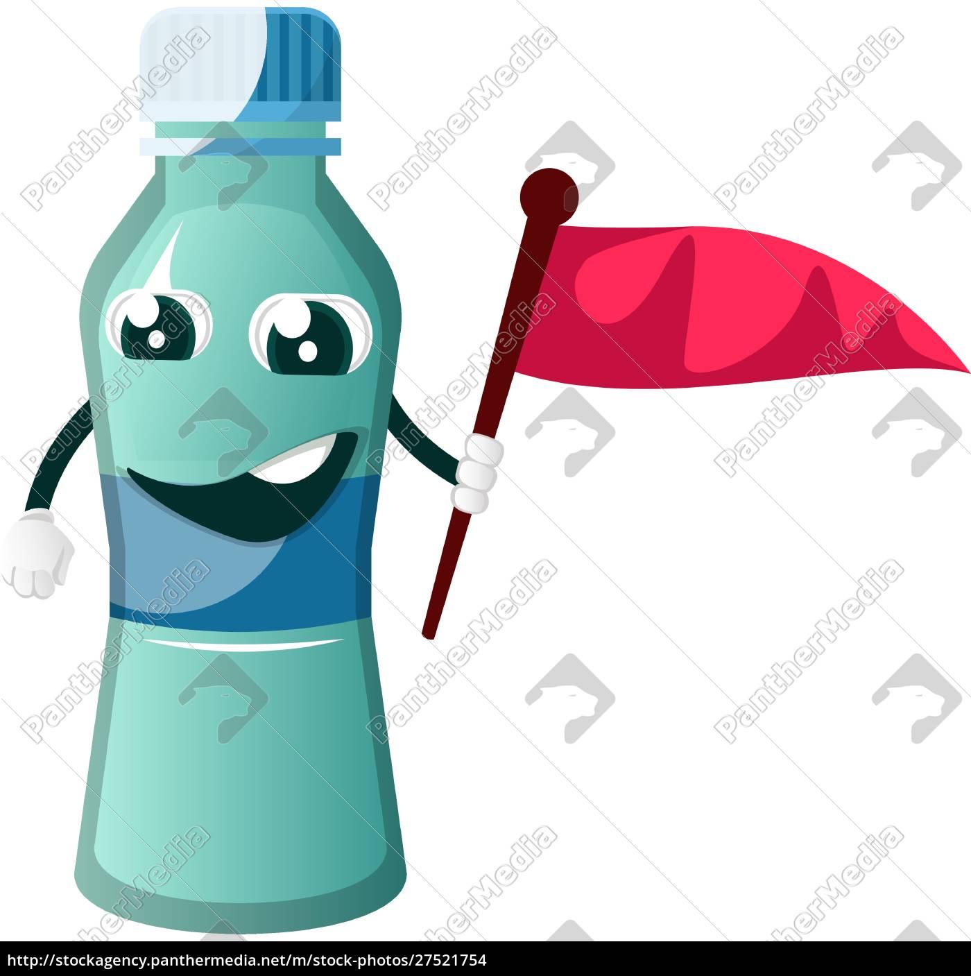 butelka, trzyma, flagę, ilustrację, wektor, na, białym, tle. - 27521754