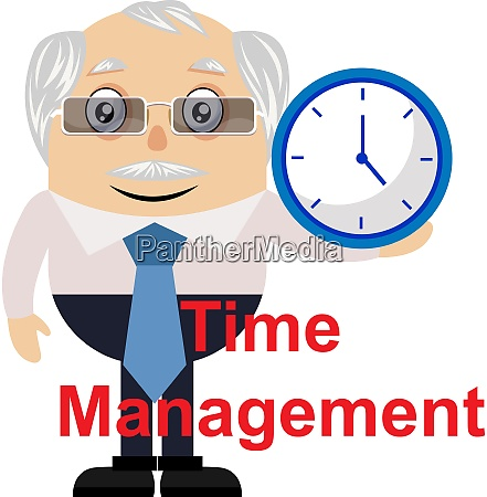 old man with clock illustration vector