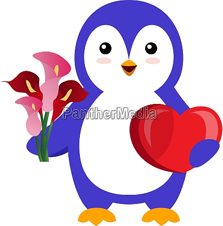 penguin with flower illustration vector on