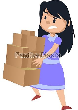 dziewczyna, trzyma, pudełka, ilustracja, wektor, na, białym, tle. - 27522076