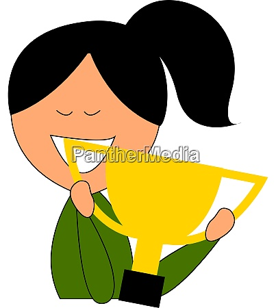woman holding trophy illustration vector on