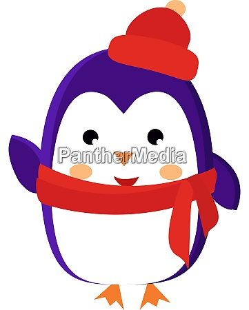 penguin with hat illustration vector on