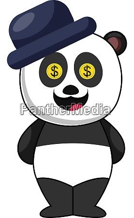 panda with blue hat illustration vector