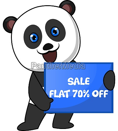 panda with sale sign illustration vector