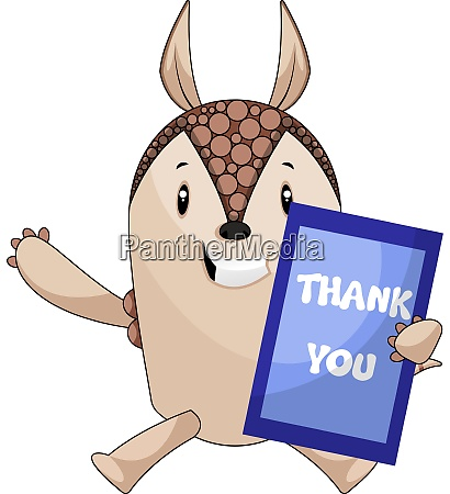 armadillo with thank you board illustration